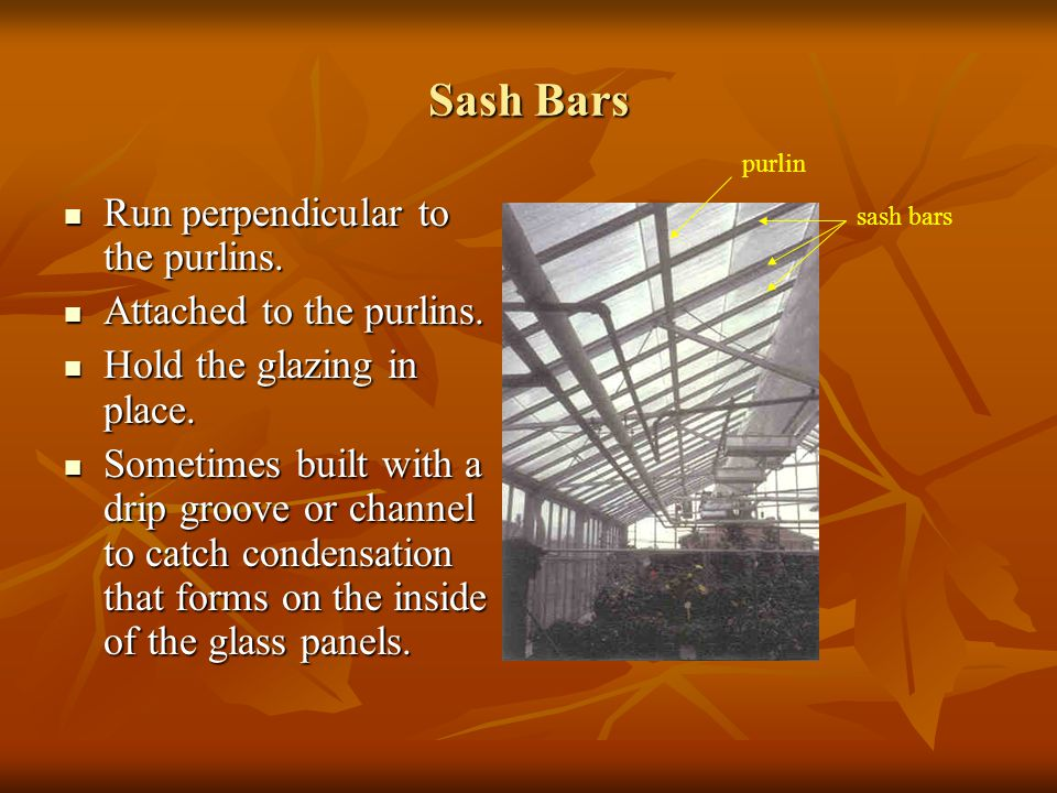 Sash Bars Run perpendicular to the purlins. Attached to the purlins.