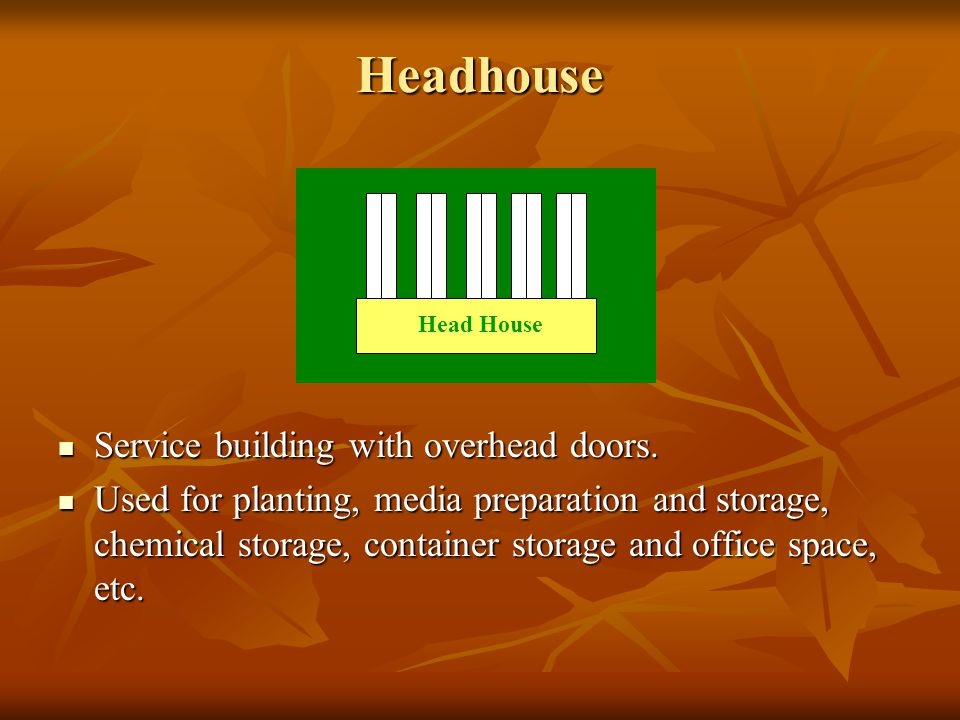 Headhouse Service building with overhead doors.