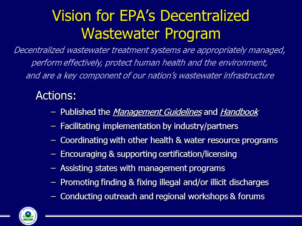 Vision for EPA's Decentralized Wastewater Program