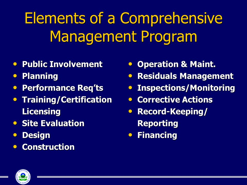 Elements of a Comprehensive Management Program