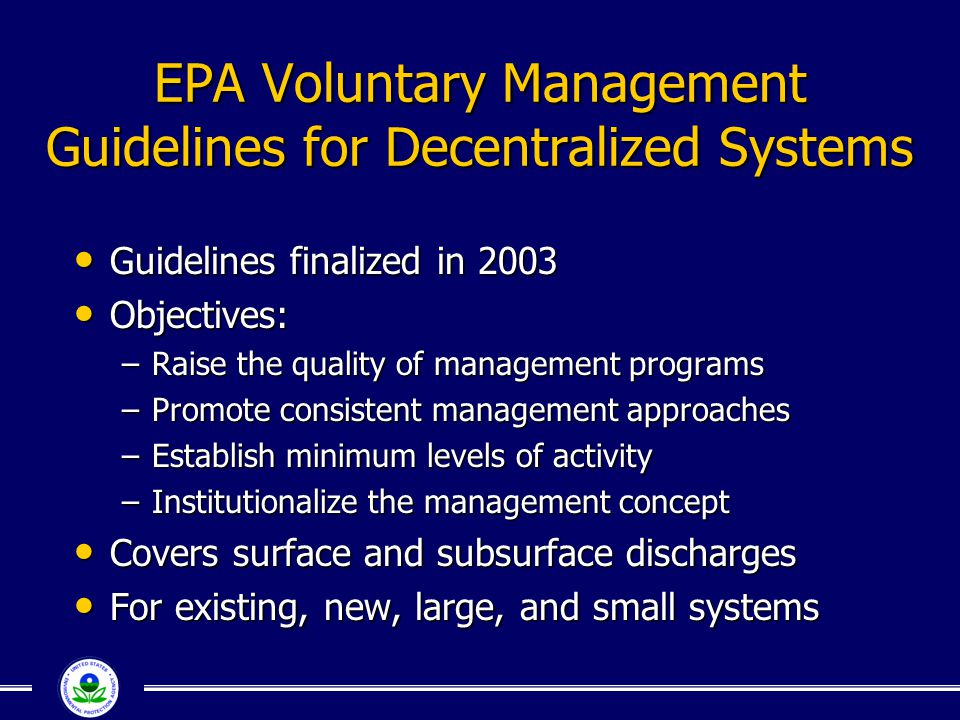 EPA Voluntary Management Guidelines for Decentralized Systems
