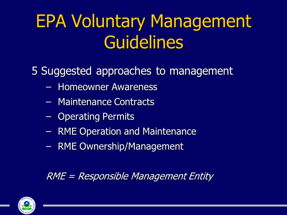 EPA Voluntary Management Guidelines