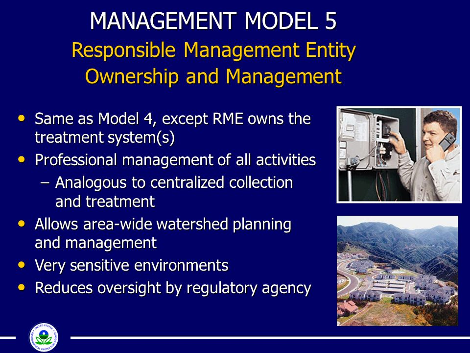 MANAGEMENT MODEL 5 Responsible Management Entity Ownership and Management