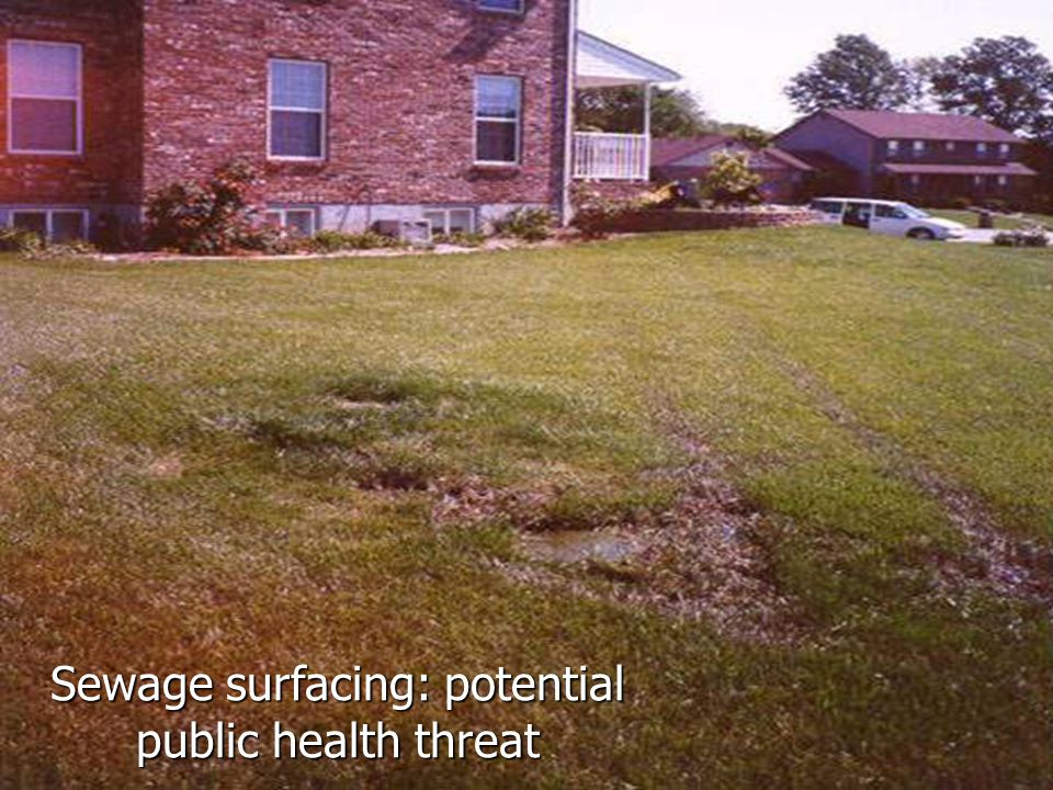 Sewage surfacing: potential public health threat