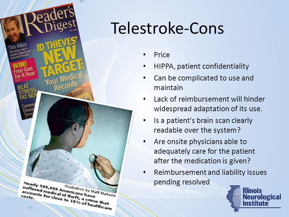 Telestroke-Cons Price HIPPA, patient confidentiality