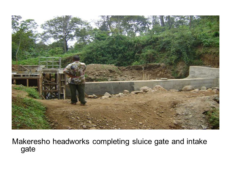 Makeresho headworks completing sluice gate and intake gate