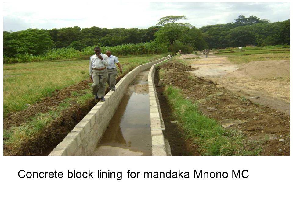 Concrete block lining for mandaka Mnono MC