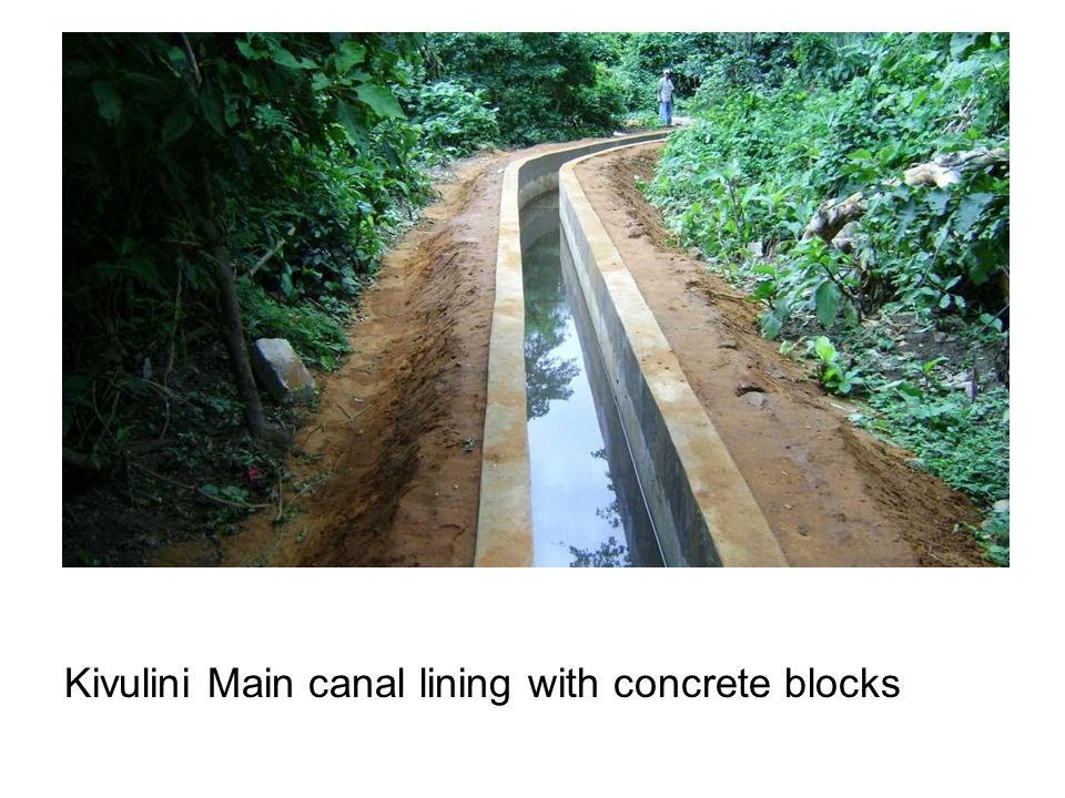 Kivulini Main canal lining with concrete blocks