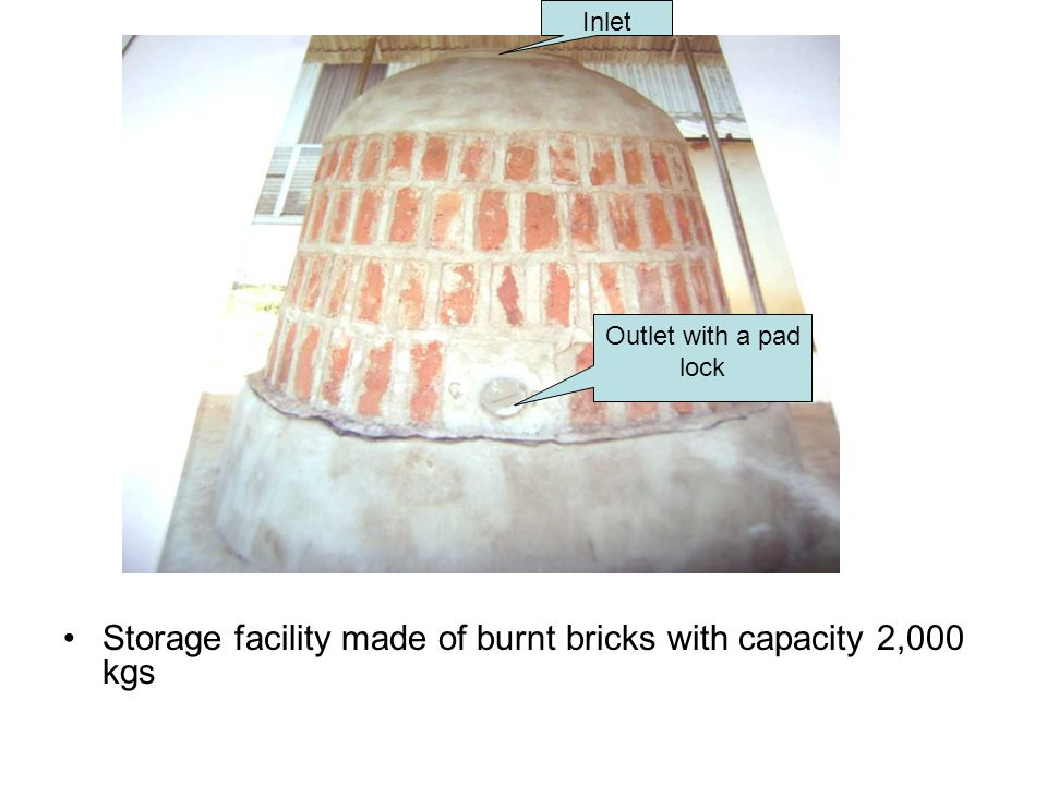 Storage facility made of burnt bricks with capacity 2,000 kgs