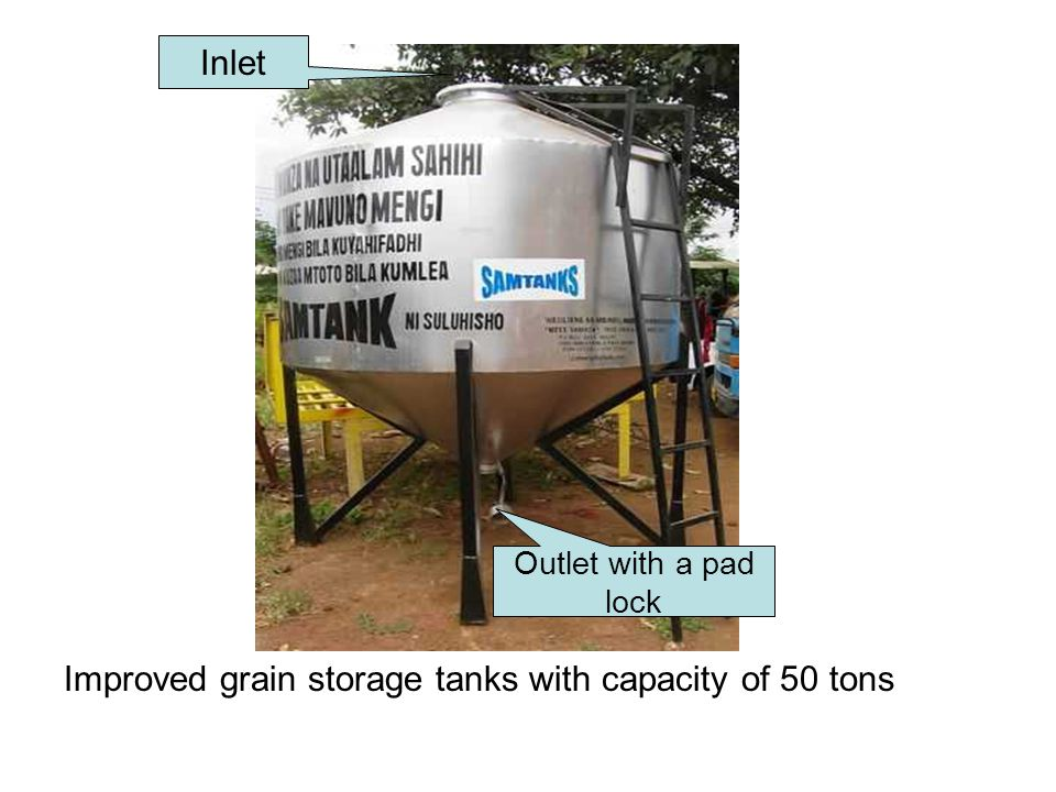 Improved grain storage tanks with capacity of 50 tons