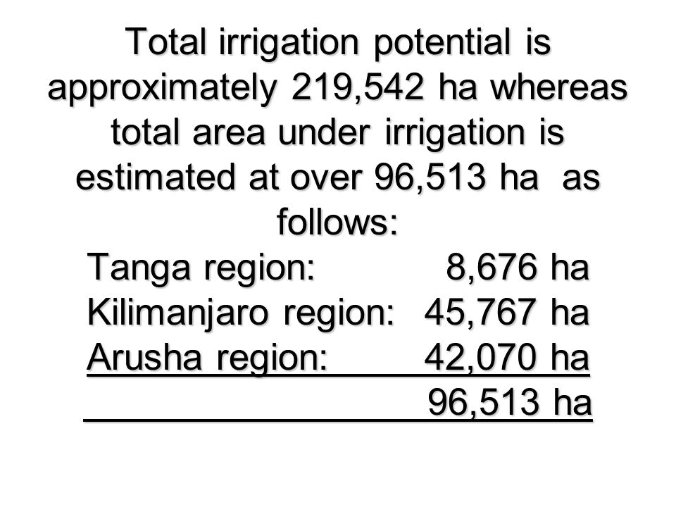 Total irrigation potential is approximately 219,542 ha whereas total area under irrigation is estimated at over 96,513 ha as follows: Tanga region: 8,676 ha Kilimanjaro region: 45,767 ha Arusha region: 42,070 ha 96,513 ha