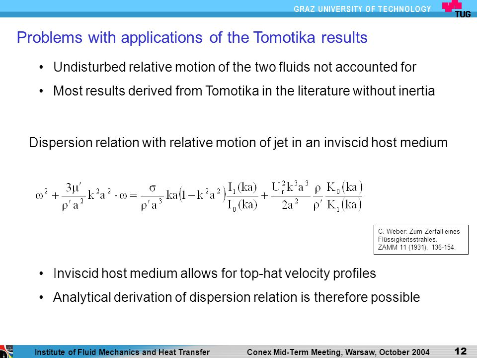 Problems with applications of the Tomotika results