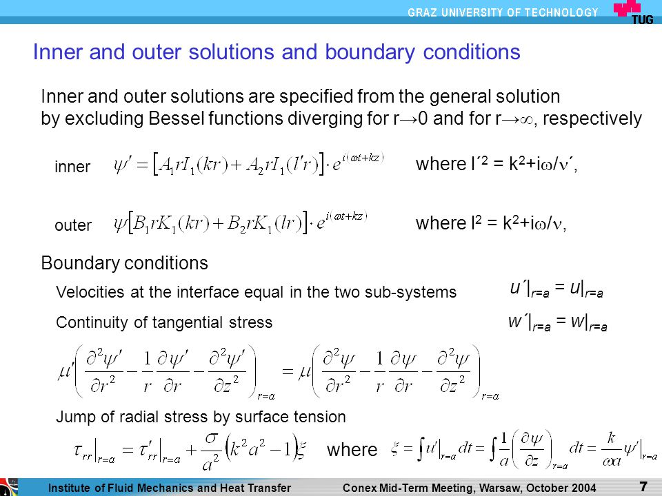 Inner and outer solutions and boundary conditions
