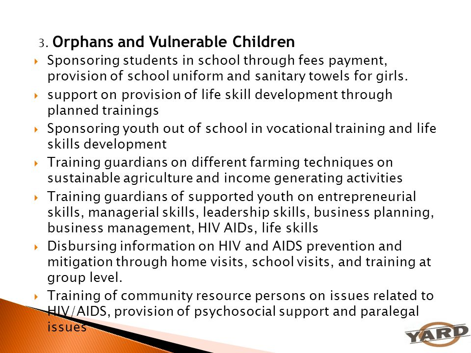 3. Orphans and Vulnerable Children