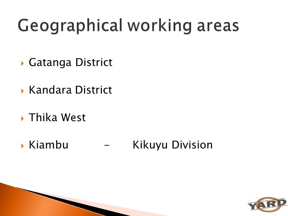 Geographical working areas