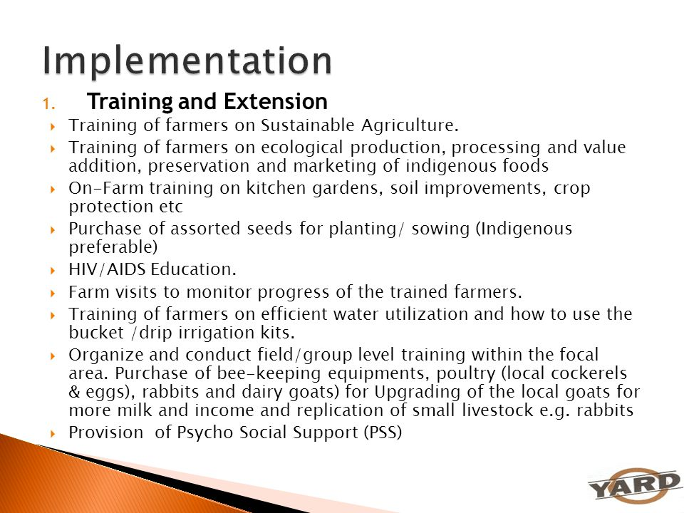 Implementation Training and Extension