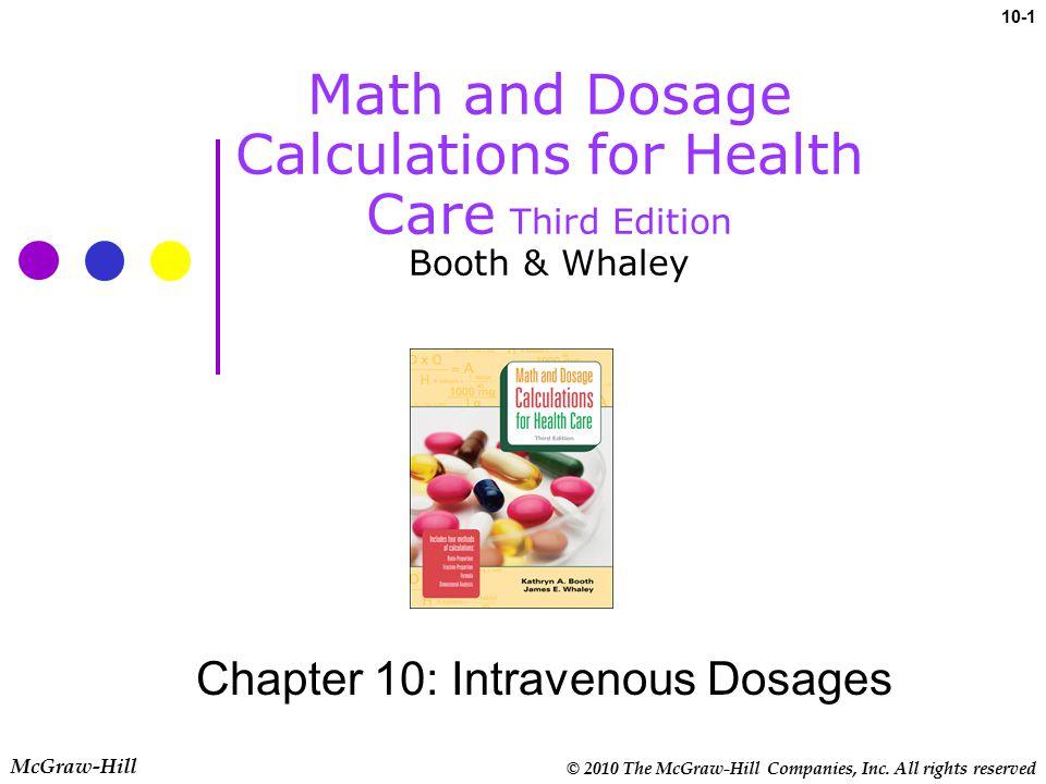Chapter 10: Intravenous Dosages