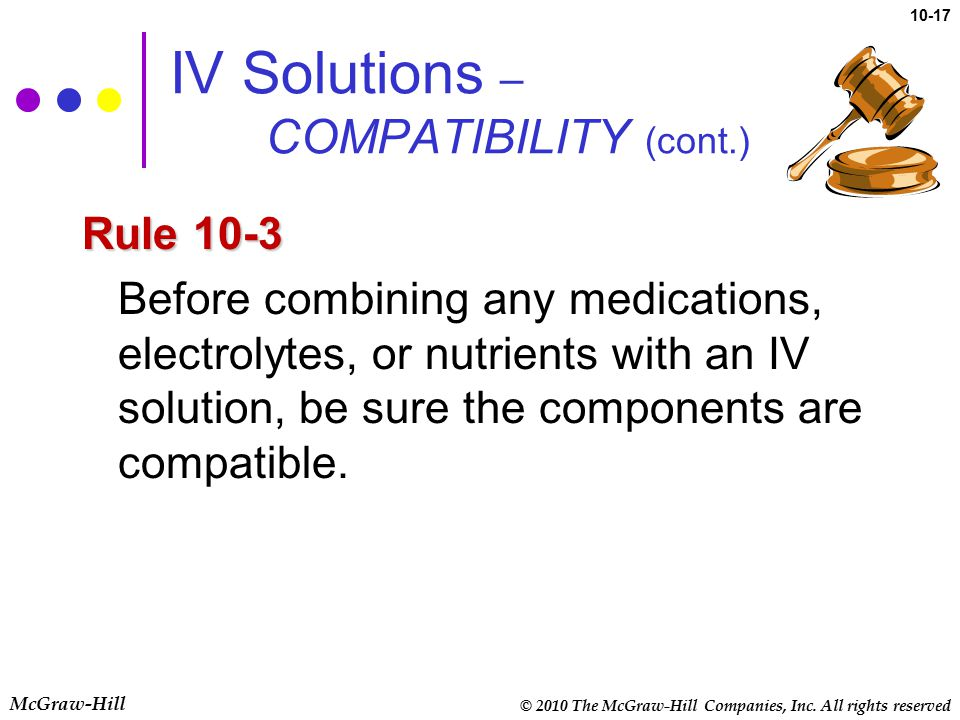 IV Solutions – COMPATIBILITY (cont.)