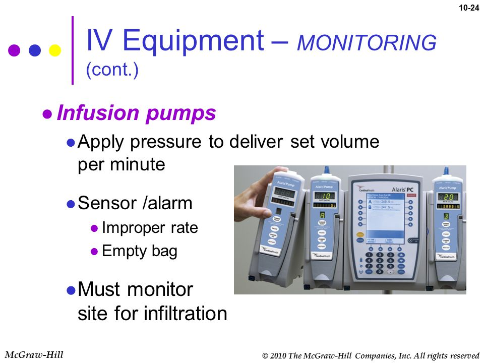 IV Equipment – MONITORING (cont.)