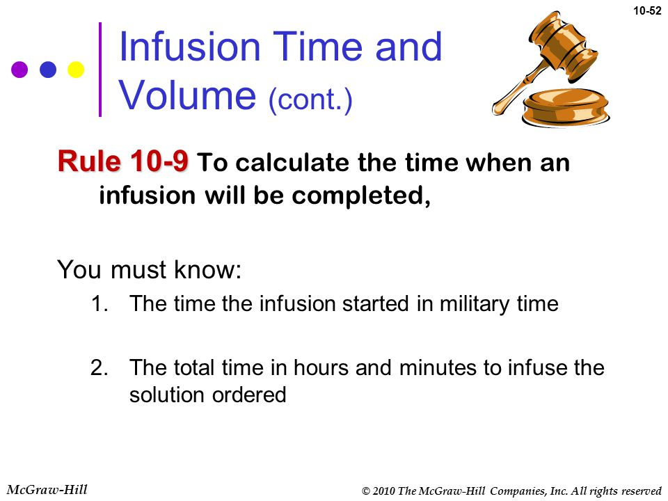 Infusion Time and Volume (cont.)