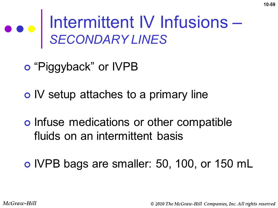 Intermittent IV Infusions – SECONDARY LINES