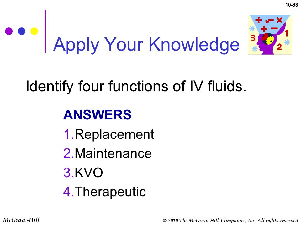 Apply Your Knowledge Identify four functions of IV fluids. ANSWERS