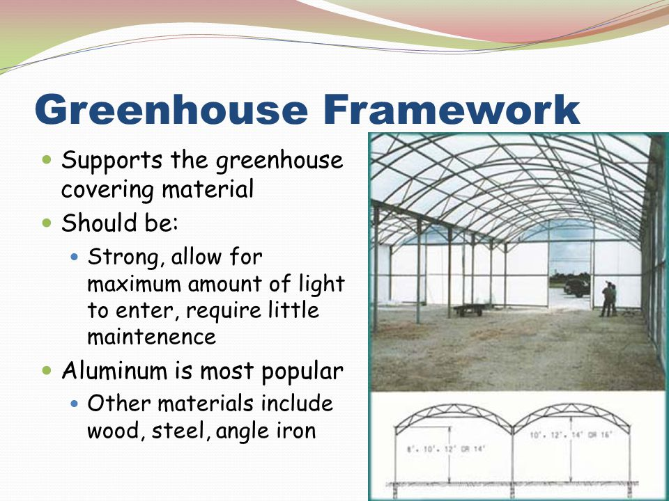 Greenhouse Framework Supports the greenhouse covering material