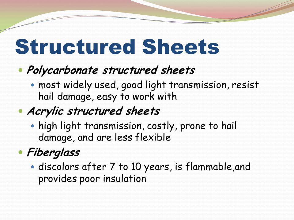 Structured Sheets Polycarbonate structured sheets