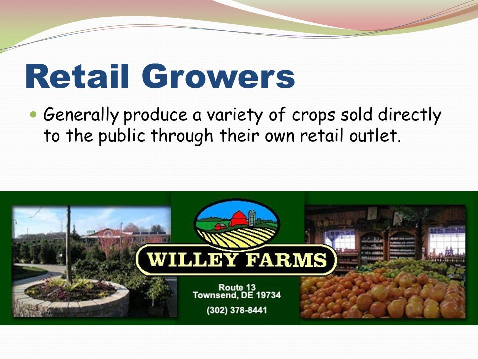 Retail Growers Generally produce a variety of crops sold directly to the public through their own retail outlet.