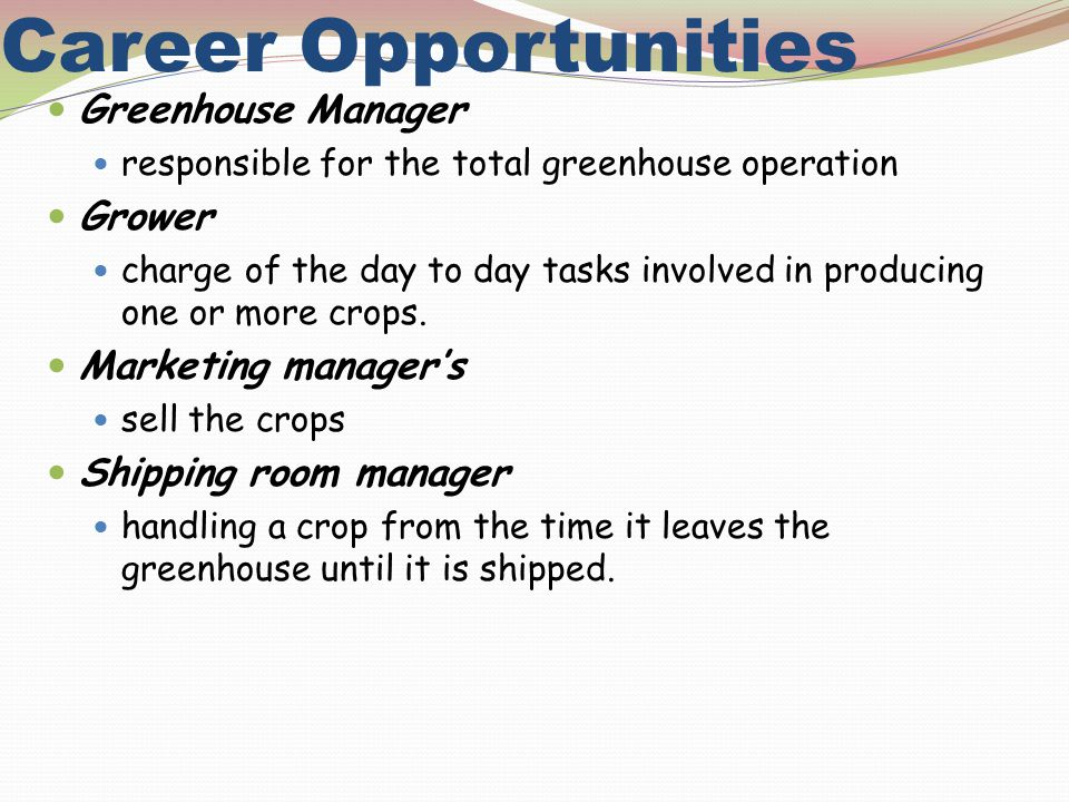 Career Opportunities Greenhouse Manager Grower Marketing manager's