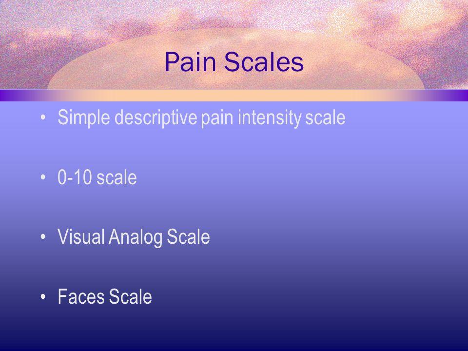 Pain Scales Simple descriptive pain intensity scale 0-10 scale