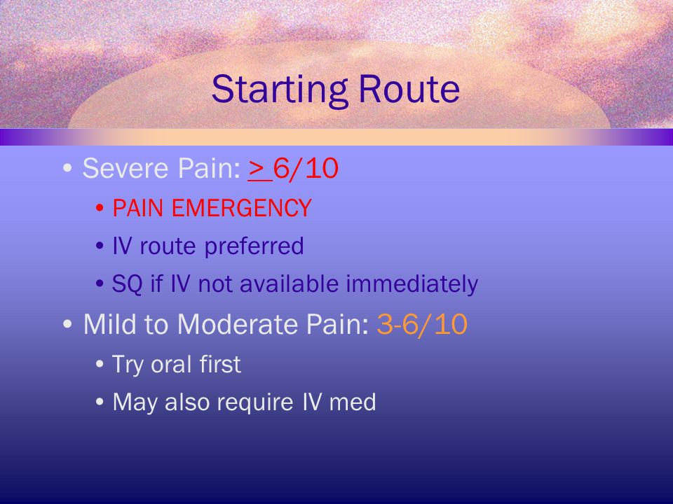 Starting Route Severe Pain: > 6/10 Mild to Moderate Pain: 3-6/10