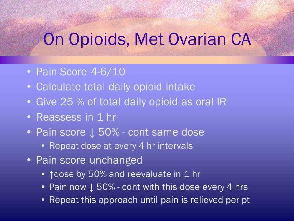 On Opioids, Met Ovarian CA