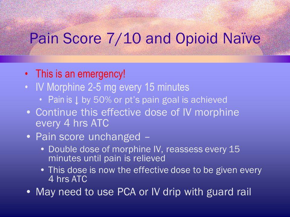 Pain Score 7/10 and Opioid Naïve