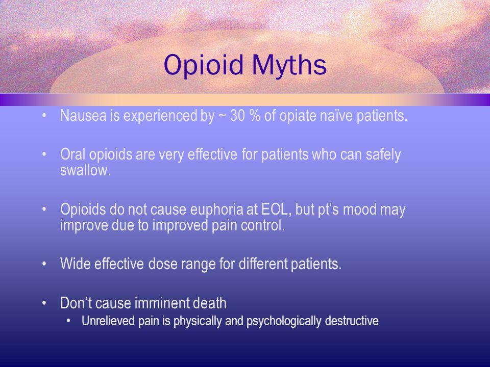 Opioid Myths Nausea is experienced by ~ 30 % of opiate naïve patients.