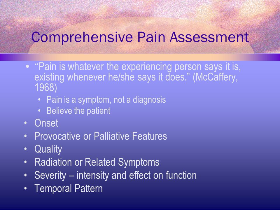 Comprehensive Pain Assessment