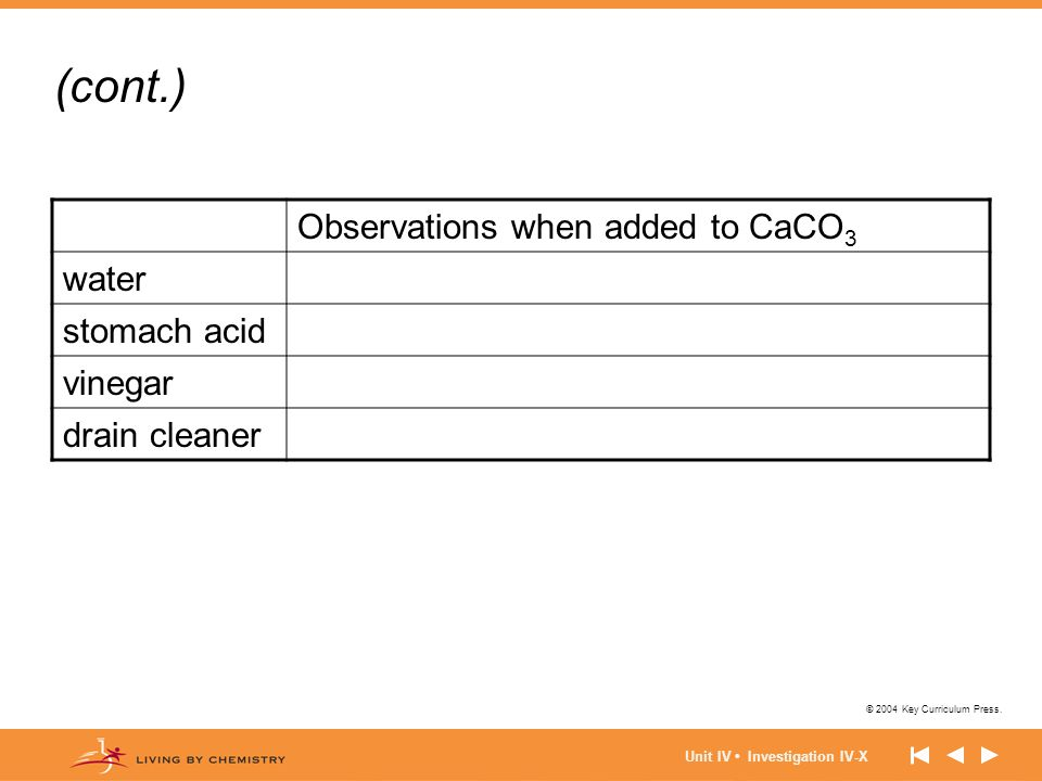 (cont.) Observations when added to CaCO3 water stomach acid vinegar