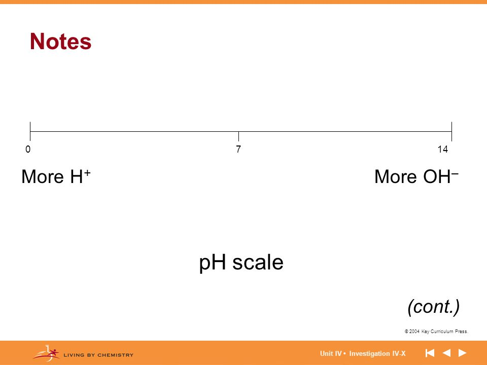 Notes pH scale More H+ More OH– (cont.) 14 7