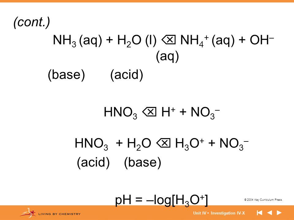 NH3 (aq) + H2O (l)  NH4+ (aq) + OH– (aq)