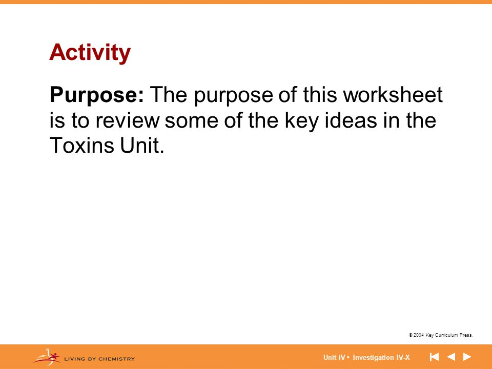 Activity Purpose: The purpose of this worksheet is to review some of the key ideas in the Toxins Unit.