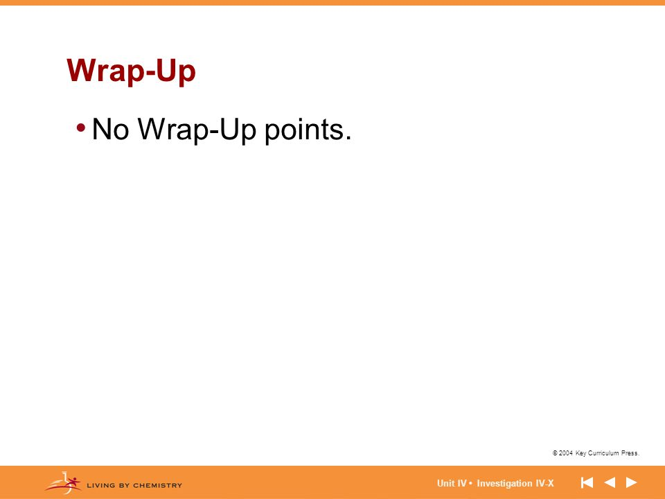 Wrap-Up No Wrap-Up points. Unit IV • Investigation IV-X