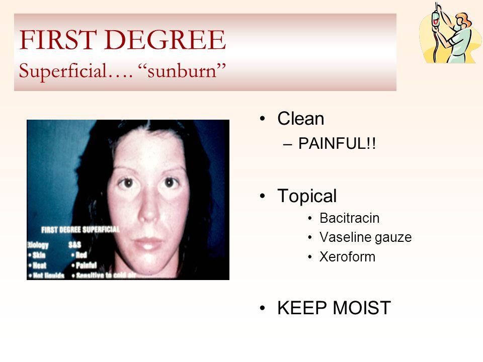 FIRST DEGREE Superficial…. sunburn