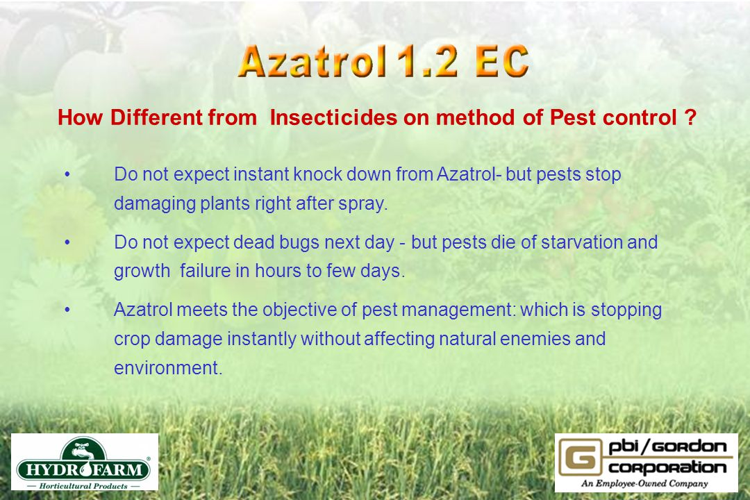 How Different from Insecticides on method of Pest control