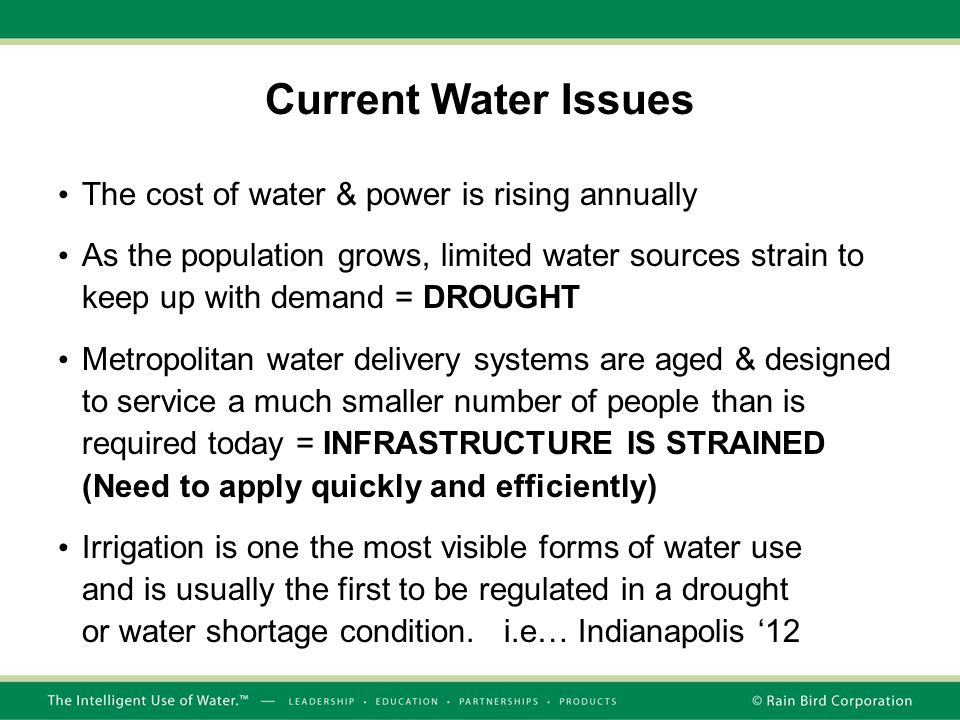 Current Water Issues The cost of water & power is rising annually