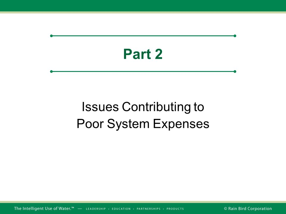 Issues Contributing to Poor System Expenses