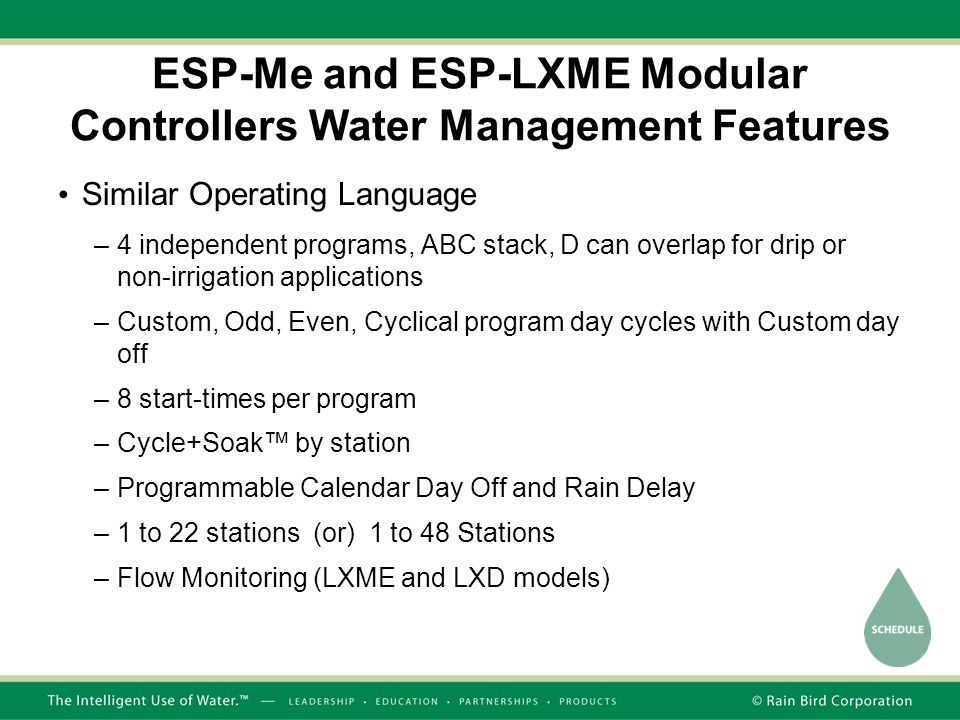 ESP-Me and ESP-LXME Modular Controllers Water Management Features