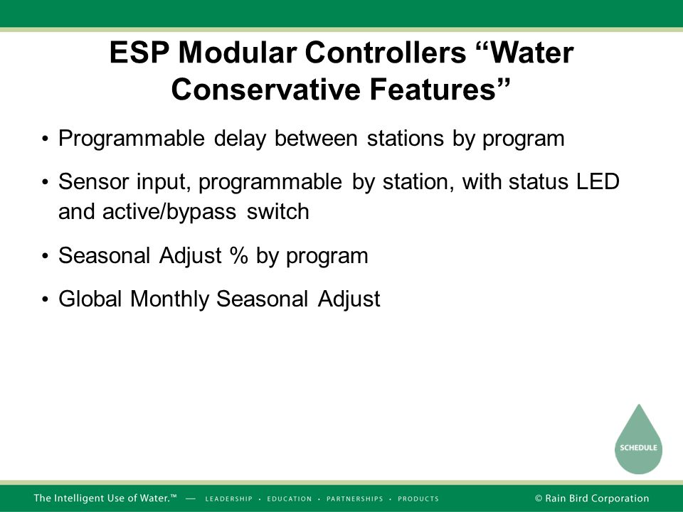 ESP Modular Controllers Water Conservative Features