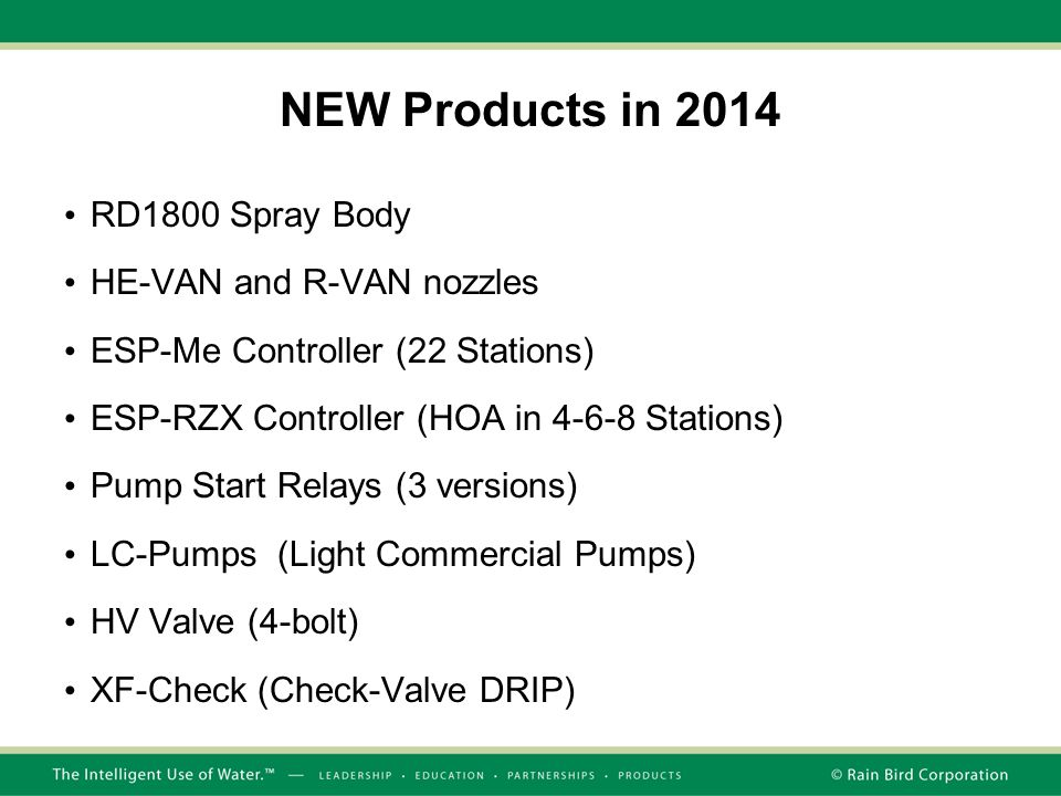 NEW Products in 2014 RD1800 Spray Body HE-VAN and R-VAN nozzles