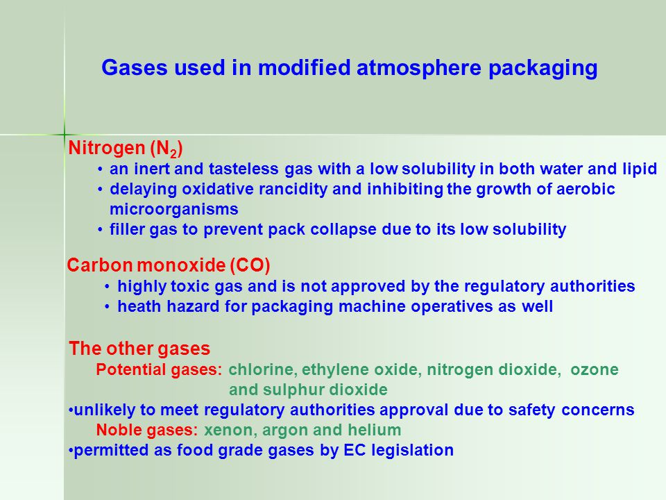 Gases used in modified atmosphere packaging