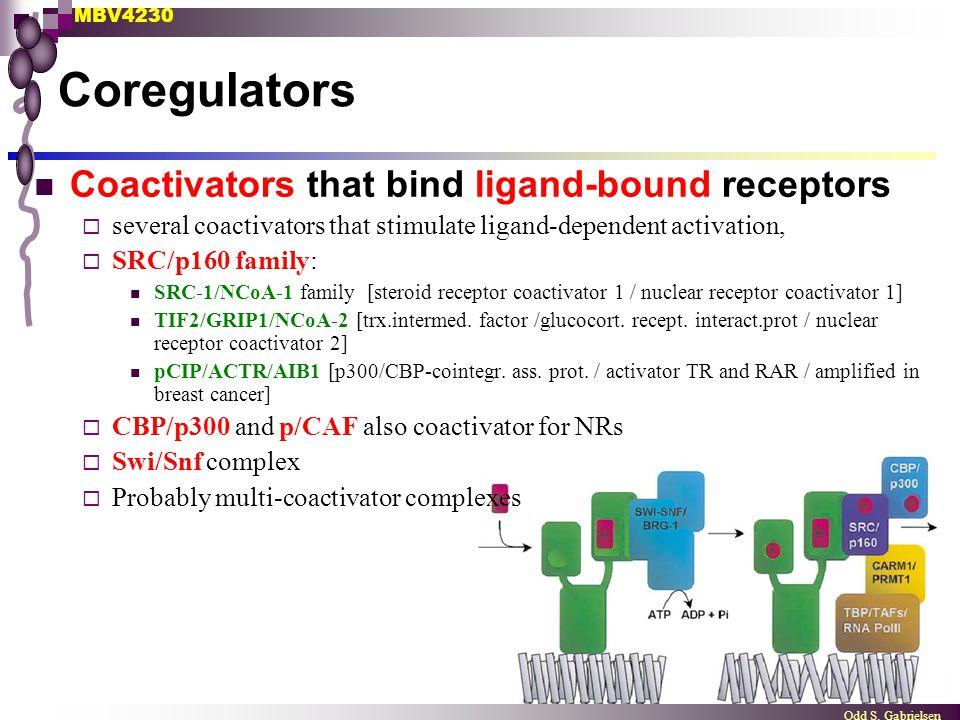 Coregulators Coactivators that bind ligand-bound receptors